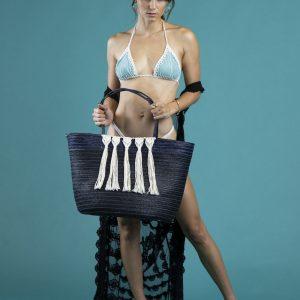 Bolsa de playa de palma con macramé
